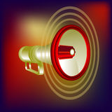 Megaphon vector in red background. Red megaphone  on red background Royalty Free Stock Images