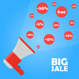 Megaphone ανακοίνωσης στη μεγάλη πώληση Ελεύθερη απεικόνιση δικαιώματος