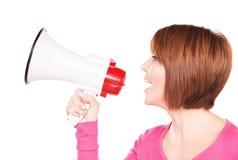 megaphone γυναίκα Στοκ Φωτογραφία