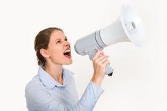 megaphone γυναίκα Στοκ Φωτογραφίες