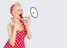 Megaphone, γυναίκες, να φωνάξει Στοκ Εικόνες
