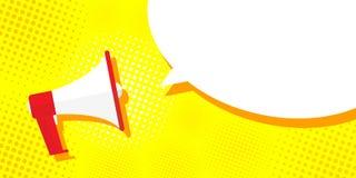 Megaphone εικόνων σε ένα κίτρινο υπόβαθρο, λαϊκή τέχνη, τρύγος Προσφορά μέγα-διαφήμισης, έμβλημα Σύννεφο για το κείμενο, μήνυμα διανυσματική απεικόνιση