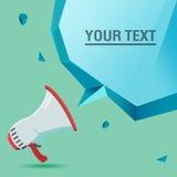 Megaphone η φωνή διαφημίζει το διάνυσμα φυσαλίδων κειμένων Στοκ εικόνα με δικαίωμα ελεύθερης χρήσης