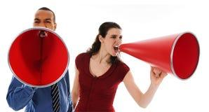 megaphone κόκκινη ομάδα στοκ εικόνα