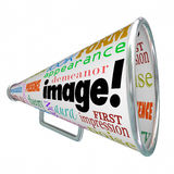 Megaphone του Word Bullhorn εικόνας εντύπωση εμφάνισης Στοκ εικόνα με δικαίωμα ελεύθερης χρήσης