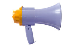 Megaphone. A plastic megaphone is isolated against a white background Stock Photo
