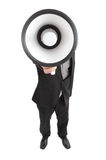 Megaphone. Businessman shouting with a megaphone Stock Image