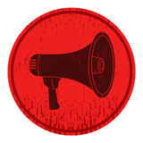 Megaphone. Circular sign with a picture of a megaphone Stock Images