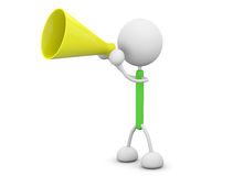 Megaphone. 3d render illustration.Holding a megaphone Royalty Free Stock Photography