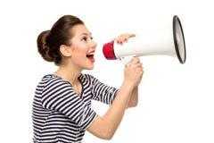 Ελκυστική γυναίκα με megaphone Στοκ Εικόνες