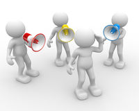 Megaphone. 3d people - man, person with a megaphone. Speaking loud Royalty Free Stock Photos