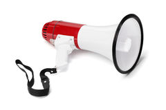 Megaphone. Red and white megaphone isolated on white with natural shadows Royalty Free Stock Images