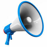 Megaphone. 3d megaphone or loudspeaker, white background, blue glossy color Stock Photography