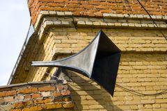 Megaphone. Nice operational megaphone from 1930 year, which play very old songs Stock Images