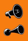 Megaphone. Icons of megaphone on orange background. Vector Royalty Free Stock Photography