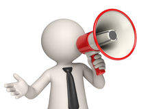 Megaphone - 3d man. Virtual Vito speaking through a red megaphone - Isolated Stock Photography
