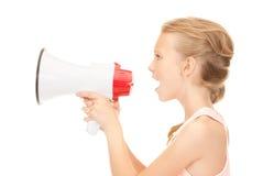 Κορίτσι με megaphone Στοκ Φωτογραφίες