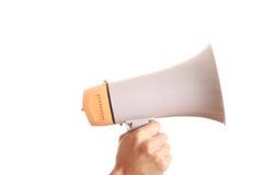 Megaphone. Hand held megaphone isolated on white background Royalty Free Stock Image
