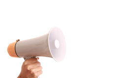 Megaphone. Hand held megaphone isolated on white background Royalty Free Stock Photography