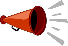 Megaphone. With noise burst.  Vector file available. No gradients or halftones used Stock Photo