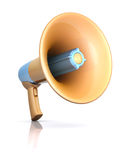 Megaphone. Standing on the white floor. Concept of communication Royalty Free Stock Images