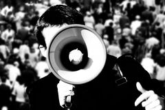Megaphone in action Stock Image
