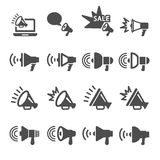 Megaphone in action icon set, vector eps10 Royalty Free Stock Photo