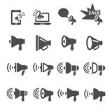 Megaphone in action icon set 2, vector eps10 Stock Images