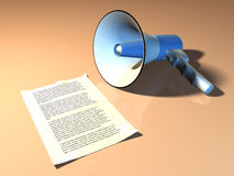 Megaphone and announcement Stock Photo