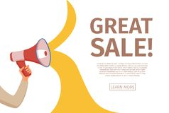Megaphone announcement vector cartoon style illustration with speech bubble. stock photography
