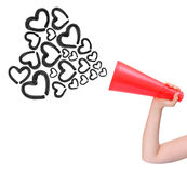 Megaphone announcing love isolated Stock Photos