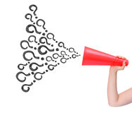 Megaphone announcing question isolated Royalty Free Stock Images