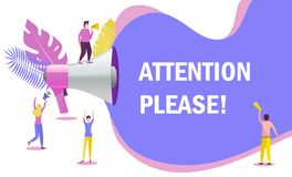 Megaphone with attention please word royalty free illustration