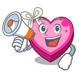 With megaphone box heart in shape of mascot stock illustration