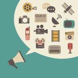 Megaphone and bubble speech Stock Photo