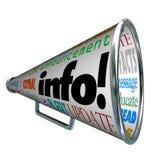 Megaphone Bullhorn πληροφοριών πληροφοριών επιφυλακή αναπροσαρμογών διανυσματική απεικόνιση
