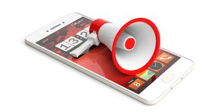Megaphone, bullhorn on a smartphone. Bullhorn with red details on white background. 3d illustration. Megaphone, bullhorn on a smartphone. Bullhorn with red Stock Image