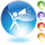Megaphone Businessman Crystal Icon. Isolated on a white background Royalty Free Stock Photography