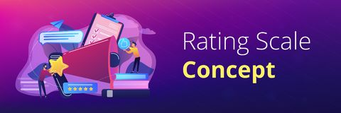 Top-ranking concept banner header. Megaphone and businessmen rate with stars and thumb up icons. Rank and rating scale, high-ranking, top-ranking concept on stock illustration