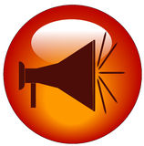 Megaphone button Royalty Free Stock Images