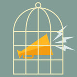 Megaphone in a cage. Vector flat design. Megaphone in a cage, Vector flat design Royalty Free Stock Image