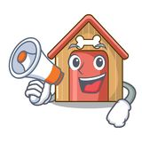 With megaphone cartoon funny dog house with dish royalty free illustration