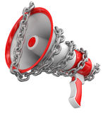 Megaphone and chain (clipping path included) Royalty Free Stock Photo