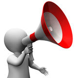 Megaphone Character Shows Speech Shouting Announcing And Announc Stock Images