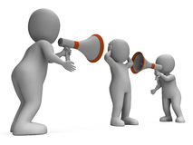 Megaphone Characters Show Attention Explaining Announce And Bull Royalty Free Stock Photos
