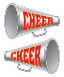 Megaphone-Cheer. Illustration of two versions of a megaphone used by cheerleaders with the word cheer on them stock illustration