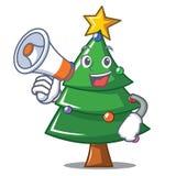 With megaphone Christmas tree character cartoon. Vector illustration Royalty Free Stock Photos