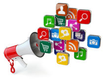 Megaphone with cloud of application icons. Digital marketing con Royalty Free Stock Photography