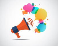 Megaphone with cloud of colorful speech bubble. Marketing concept Stock Illustration