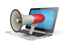 Megaphone concept - internet marketing Stock Images